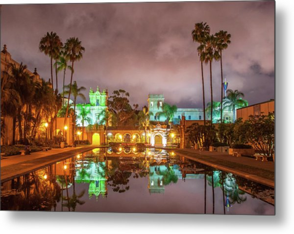 Lily Pond At Night Metal Print