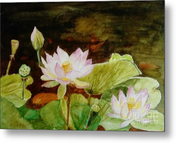 The Lily Pond - Painting  Metal Print