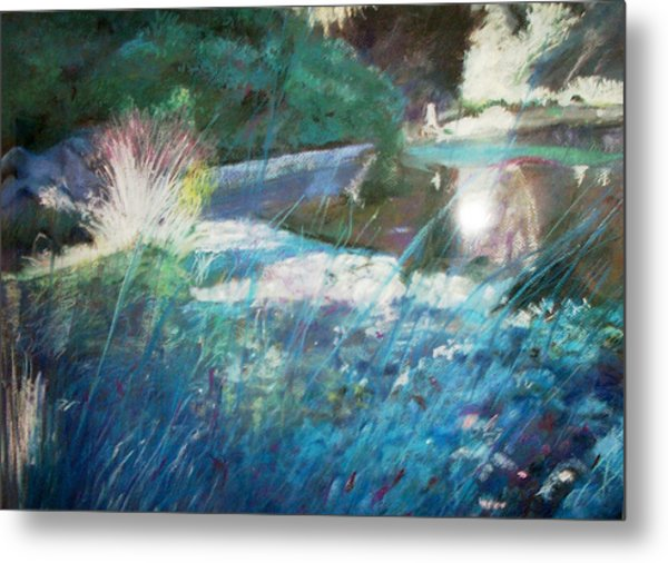 Lily Pond Statue And Gardens Metal Print by Anita Stoll