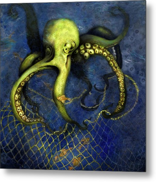 Lime Green Octopus With Net Metal Print