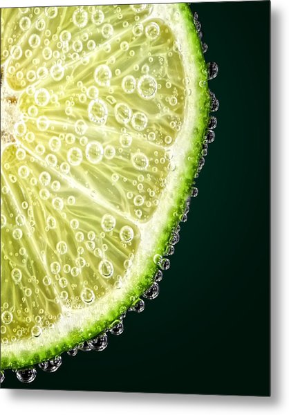 Lime Slice Metal Print