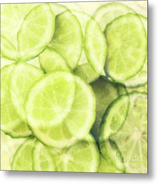 Lime Slices Metal Print