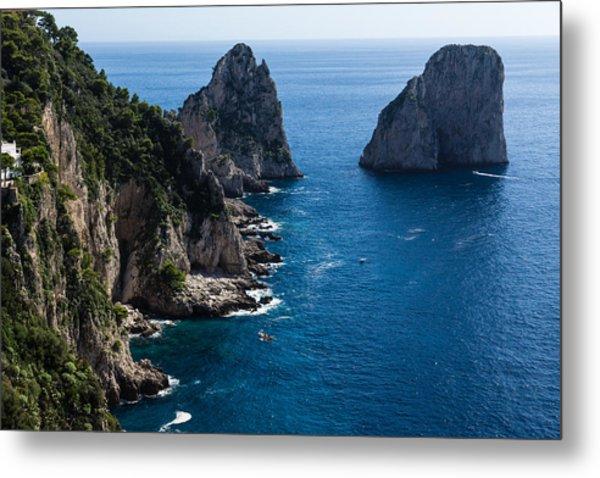 Limestone Cliffs And Seastacks - A Capri Island Vacation Metal Print