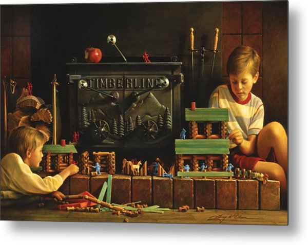 Metal Print featuring the painting Lincoln Logs by Greg Olsen