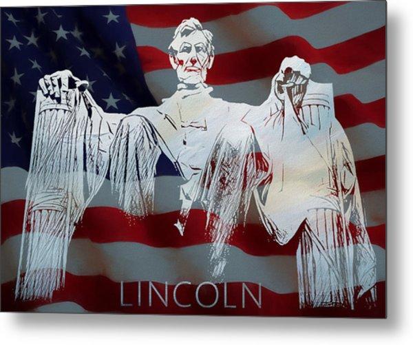 Lincoln Memorial American Flag Metal Print