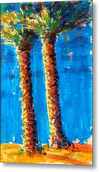 Metal Print featuring the painting Lincoln Rd Date Palms by Thomas Lupari