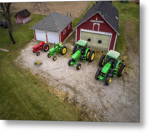Lining Up The Tractors Metal Print