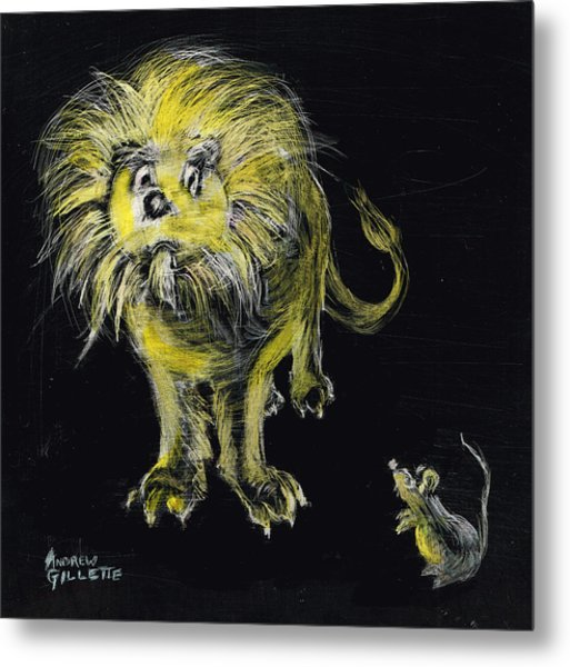 Lion And The Mouse Metal Print