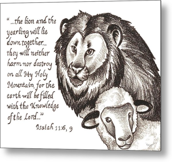 Lion And Yearling Metal Print