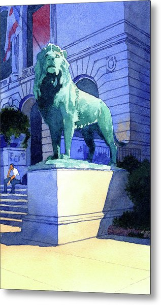 Lion At The Art Institue Of Chicago Metal Print