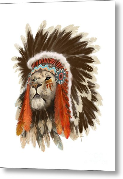 Lion Chief Metal Print
