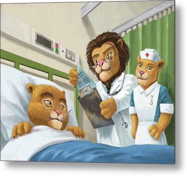 Lion Cub In Hospital Metal Print