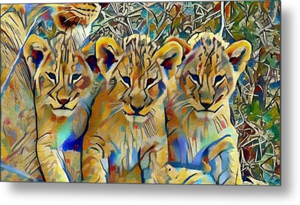 Lion Cubs Metal Print