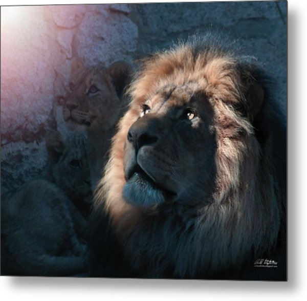 Lion Light Metal Print