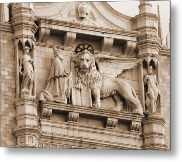Lion Of Venice With The Doge Metal Print