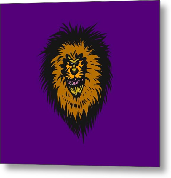 Lion Roar Purple Metal Print