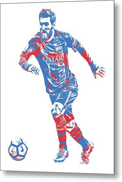 Lionel Messi F C Barcelona Argentina Pixel Art 1 Metal Print