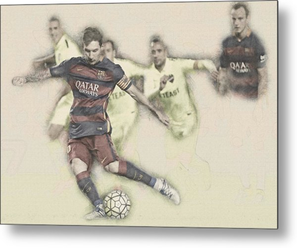 Lionel Messi Scores A Penalty Kick Against Levante  Metal Print
