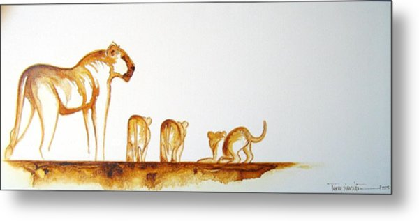 Lioness And Cubs Small - Original Artwork Metal Print