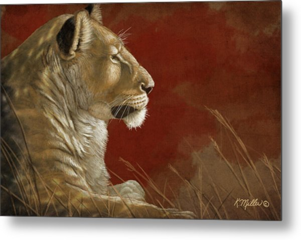 Lioness In The Shade Metal Print