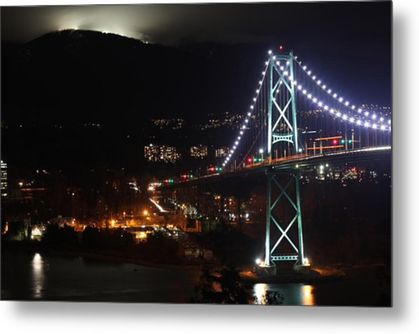 Lions Gate Bridge And Grouse Mountain Metal Print