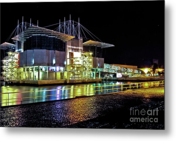 Lisbon - Portugal - Oceanarium At Night Metal Print