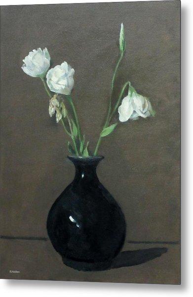 Lisianthus In Black Vase Metal Print