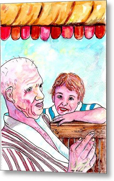 Listening To Grandpas Endless Funny Stories Metal Print