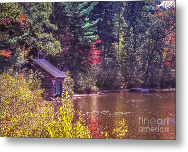Little Boat House By The Lake Metal Print