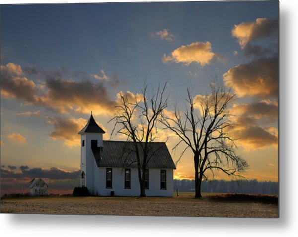 Little Church On The Prairie Metal Print