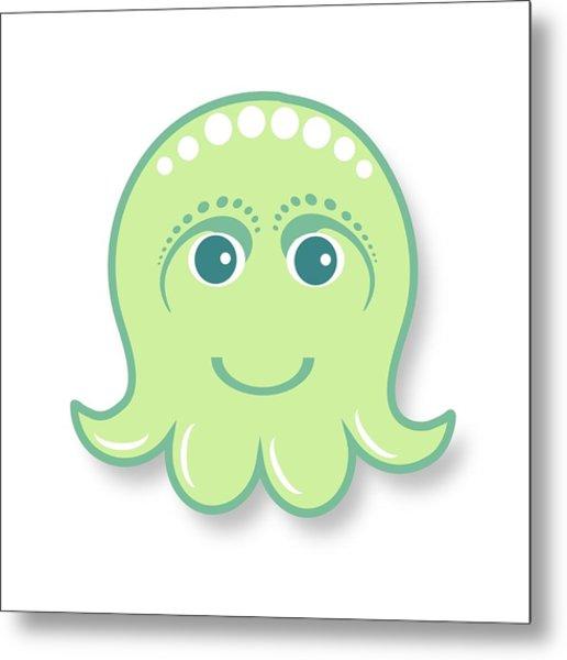 Little Cute Green Octopus Metal Print