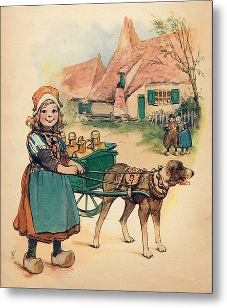 Little Dutch Girl With Milk Wagon Metal Print