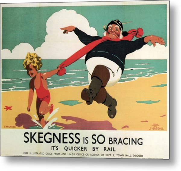 Little Girl And Old Man Playing On The Beach In Skegness, Lincolnshire - Vintage Advertising Poster Metal Print