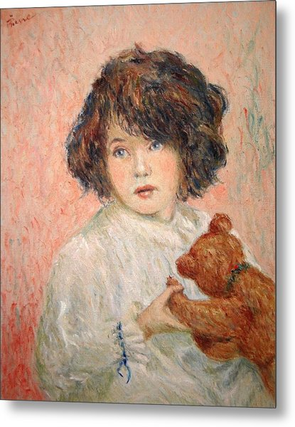 Little Girl With Bear Metal Print
