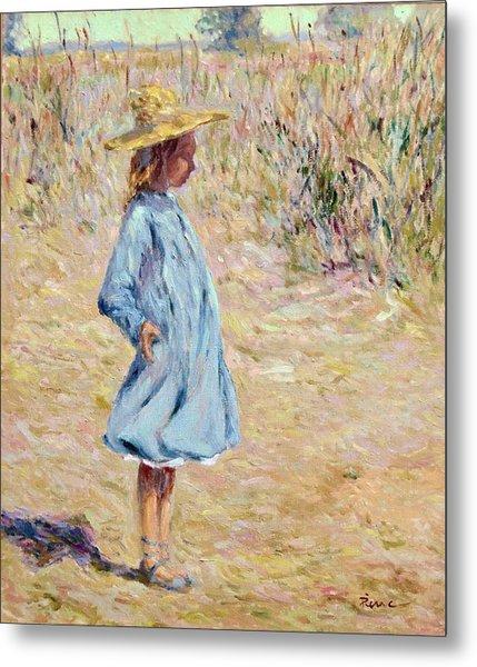 Little Girl With Blue Dress Metal Print