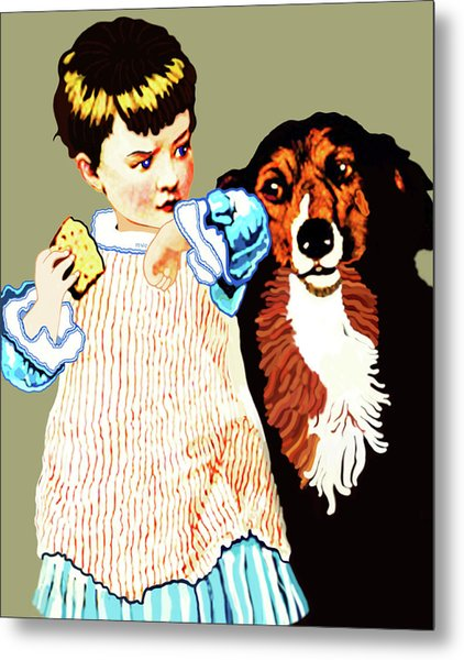 Metal Print featuring the painting Little Girl With Hungry Mutt by Marian Cates