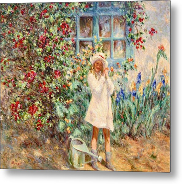 Little Girl With Roses  Metal Print