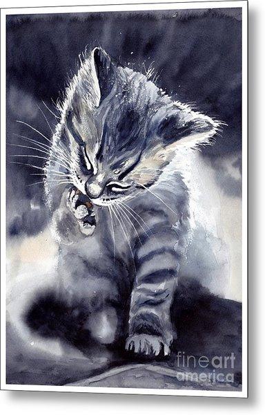 Little Grey Cat Metal Print