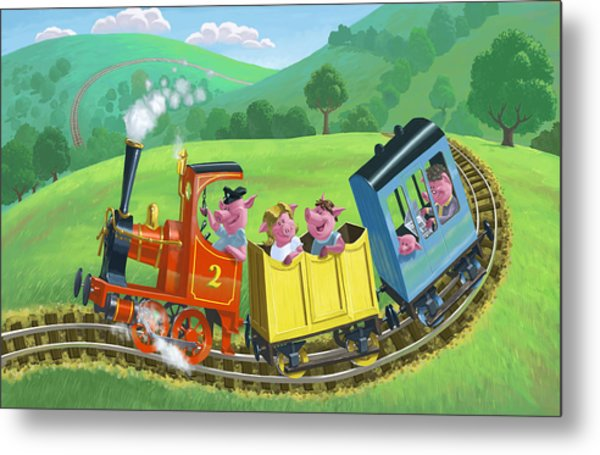 Little Happy Pigs On Train Journey Metal Print