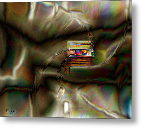 Little House On The Abstract Prairie Metal Print