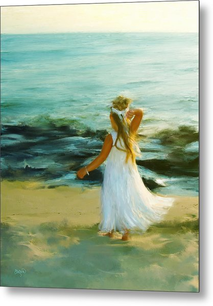 Little Lady At The Beach Metal Print