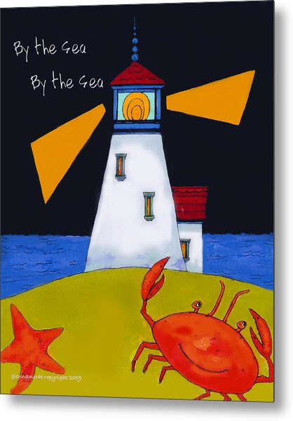 Little Lighthouse By The Sea Metal Print