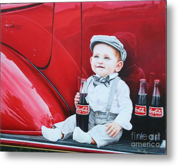 Metal Print featuring the painting Little Mason by Mike Ivey