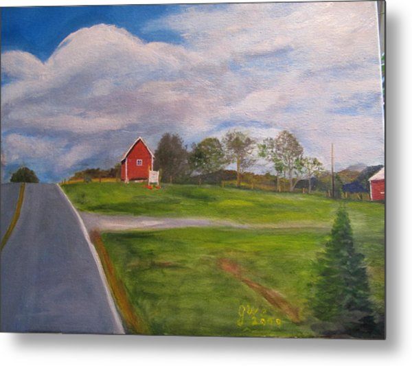 Little Red Barn On Detrick Rd Metal Print by Gloria Condon
