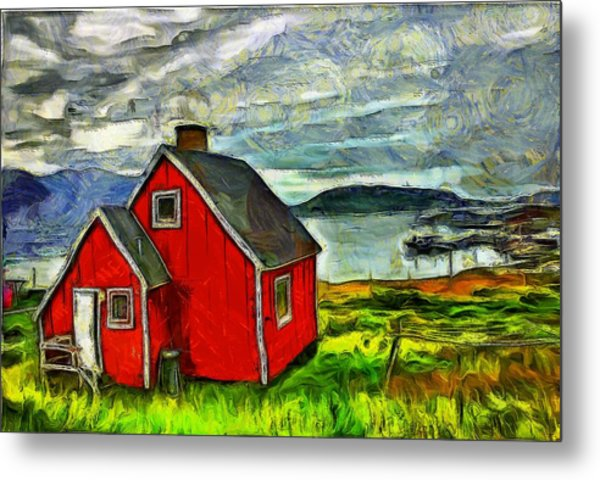 Little Red House In Greenland Metal Print