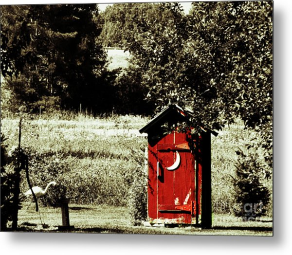 Little Red Outhouse Metal Print