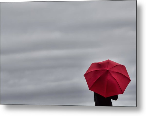 Little Red Umbrella In A Big Universe Metal Print