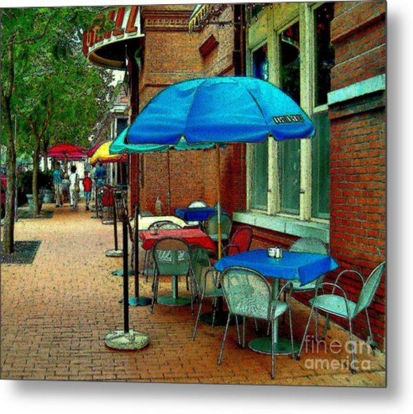 Metal Print featuring the painting Little Street Cafe by Elinor Mavor