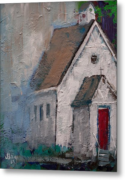 Little White Church On The Corner Christian Painting  Metal Print