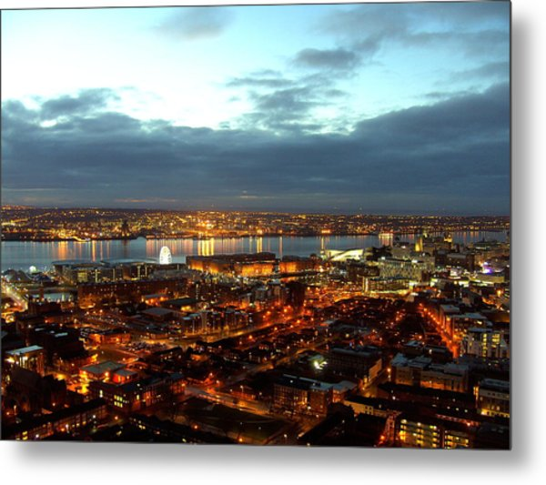 Liverpool City And River Mersey Metal Print